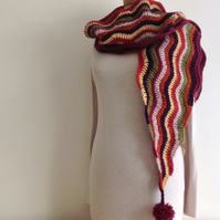 SCARF .Pure wool . ' Kicking Up Leaves' .Unique .Crochet .Ready to ship..