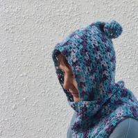 SCARF with HOOD and pompom .Wool blend. ' Breeze' ..ready to ship.