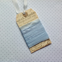 VINTAGE style  ribbon  ( silky seam binding)  ' Baby Blue ' .4yds  ....