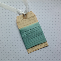 VINTAGE style  ribbon  ( silky seam binding)  ' Vintage Green' ' .4yds  ....