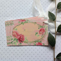 GIFT TAGS. Vintage-style , 'English Rose ' ( set of 3)