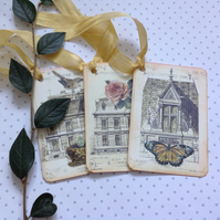 GIFT TAGS  ( set of 3 ) .Vintage -style  'French Architecture '...ready to ship.