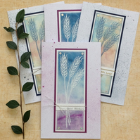 GREETINGS cards.  ( pack of 4, varied sentiments) ' Wheat '