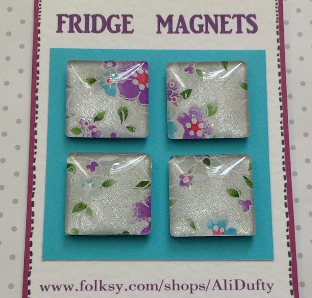 FRIDGE MAGNETS ( set of 4 )  Flora . Yuzen . Japanese design .