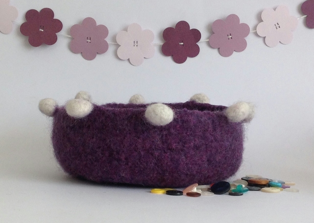 FELTED 'FUSSPOT'  BOWL , tray , desk tidy . ' Imperial ' ...ready to ship...