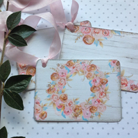 GIFT TAGS. Vintage-style , 'Watercolour Rose ' ( set of 3 diff. designs)