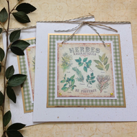 GREETINGS cards.  ( pack of 2, blank ) ' Herbes de Provence '  . Botanical.