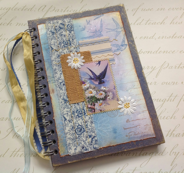 NOTEBOOK, journal, sketchbook , A5  ' Swallows' ...Ready to ship......