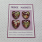 FRIDGE MAGNETS ( set of 4 ) Lovehearts . Yuzen . Japanese design .