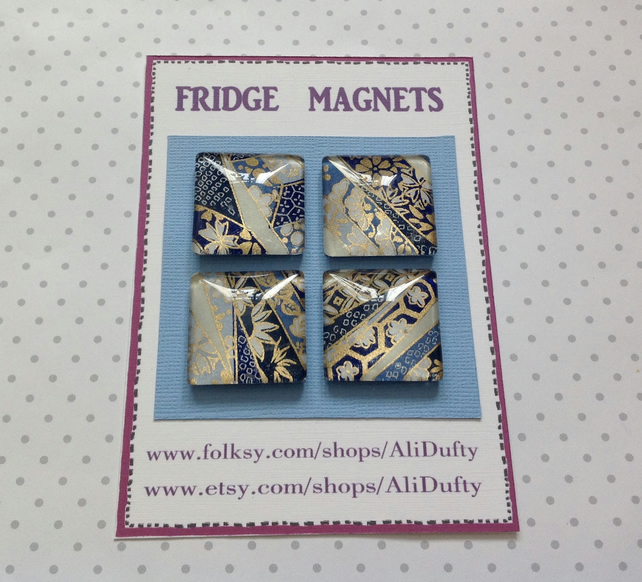 FRIDGE MAGNETS ( set of 4 )  Blue Mix . Yuzen . Japanese design .