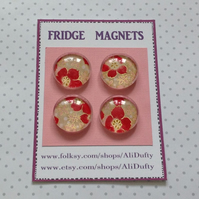 FRIDGE MAGNETS ( set of 4 )  Red blooms . Yuzen . Japanese design .