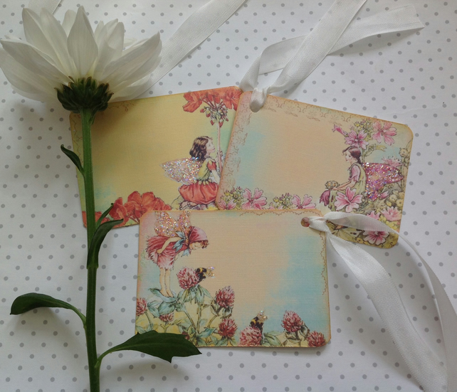 GIFT TAGS ,  vintage style ,  ( set of 3 )  Flower Fairies - 'Summer mix 2  '