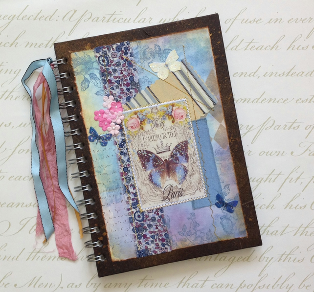 NOTEBOOK, journal, sketchbook , A5  ' Papillon Bleu ' ...Ready to ship......