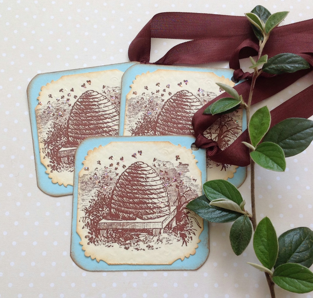 GIFT TAGS . (set of 3).  Vintage -style . ' Bee Skep  '.ready to ship