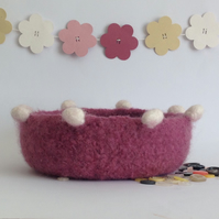 FELTED 'FUSSPOT'  BOWL , tray , desk tidy . ' Dusky Rose ' ...ready to ship...