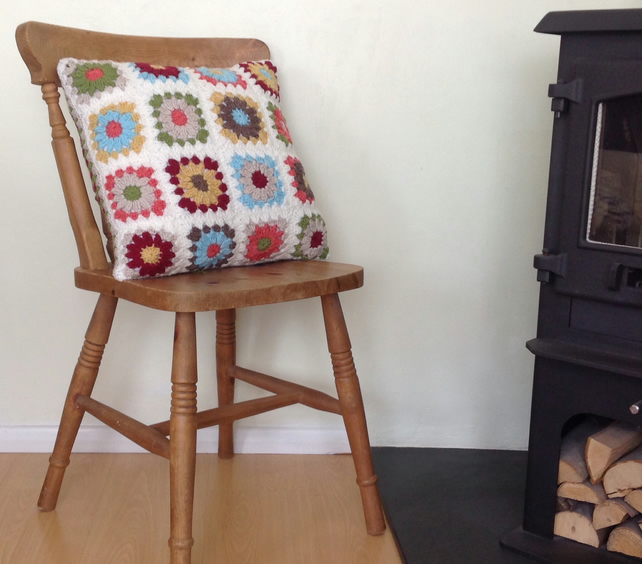 CUSHION ( inc insert ). Vintage-style.Wool blend . 'Good Vibes '.