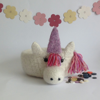 FELTED 'FUSSPOT' BOWL, tray  . ' Candy' . Unicorn.  ...ready to ship ...