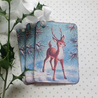 GIFT TAGS , Christmas, Winter ( set of 3) Vintage-style  ' Little Prince'. Deer.