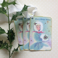 CHRISTMAS GIFT TAGS  ( set of 3. ) Vintage-style . ' Warm Winter Wishes''