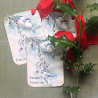 GIFT TAGS, Christmas . Set of 3 ( with diff. sentiments)