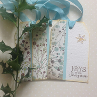 CHRISTMAS GIFT TAGS . Large . ( set of 3)  '  Joys of the Season'..
