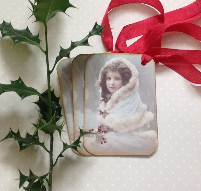 GIFT TAGS . Winter. Christmas. ( set of 3) ' Victorian Miss'.