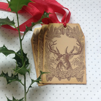 GIFT TAGS  ( set of 3) . Christmas.  Vintage-style .' Highland Stag' .