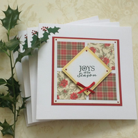 CHRISTMAS  CARDS ( pack of 4 ) Floral.. Traditional..Tartan  ready to ship....