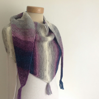 BAKTUS SCARF , wrap .Wool blend. Lightweight. 'Evening Shadows '..Ready to ship.