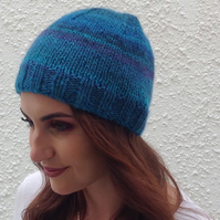BEANIE HAT . Unisex .Wool  blend. Knitted.' Deep Ocean'.