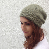 SLOUCH BEANIE . Luxurious Suri Alpaca blend . Ladies Med.  ' Trailing Vine'