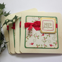 CHRISTMAS CARDS ( pack of 4) 'Boughs of Holly' .Birds . Joys of the Season.