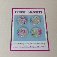 FRIDGE MAGNETS ( set of 4 )  . Silver, lilac mix . Yuzen . Japanese design .