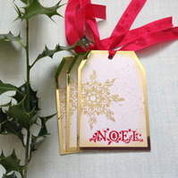 GIFT TAGS  ( set of 3) . Christmas. Noel. Scandi-style. Snowflake.' .