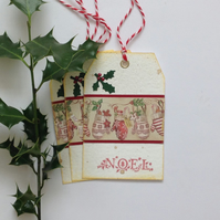 CHRISTMAS GIFT TAGS . Large . ( set of 3)  Rustic.Noel. Mittens .Holly .