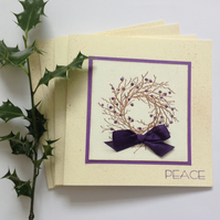 CHRISTMAS CARDS, pack of 4 , 'Peace' ( ivory, copper ,purple )..ready to ship ..