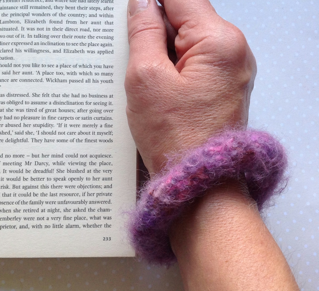 FELTED (wool ,alpaca blend) bracelet , bangle . 'Heather' ... ready to ship...
