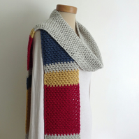 SCARF. Super-soft. Cashmere, Merino blend . ' Marina'  '. Colourblock. Skinny.