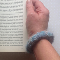 PURE ALPACA  felted bracelet , bangle. Hand-dyed.. Blues ... ready to ship...