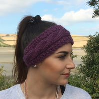ALPACA blend earwarmers. Headband ' Damson Delight'. Super soft..ready to ship..