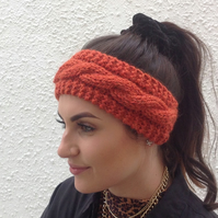 ALPACA blend earwarmers. Headband ' Copper Beech ' '. Super soft..ready to ship