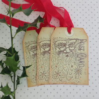 CHRISTMAS GIFT TAGS  ( set of 3) 'Postcard from Santa ' . Vintage -style.