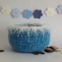 FELTED 'FUSSPOT' BOWL .' Snow Queen' ( with silky fringe)...ready to ship..