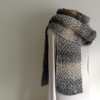 UNISEX SCARF . Super-soft , tweed wool blend. Chunky .' City Streets'