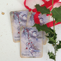 GIFT TAGS, Christmas . Set of 3 ( with diff. sentiments) Bird , berries. Winter.