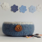 FELTED 'FUSSPOT'  BOWL , desk tidy . ' Tideline '( with Chestnut wood button).