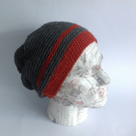 MENS Slouch Hat .Alpaca and wool blend. Crocheted . 'Terrain .'