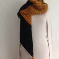 UNISEX SCARF. Merino wool . '  Metro ' .Unique .Colour block.