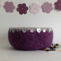 FELTED ' FUSSPOT' BOWL . ' Eternal' .  Purple , Grey( with heart  MOP buttons)