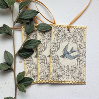 GIFT TAGS, Vintage -style.   ( set of 3) 'Swallow '..ready to ship...